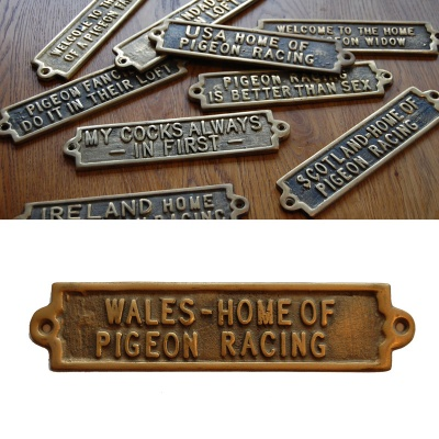 Wales - The Home Of Pigeon Racing - Brass Plaque