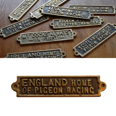 England - The Home Of Pigeon Racing - Brass Plaque