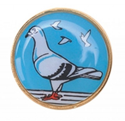 Round  25mm Coloured Pigeon Badge