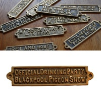 Official Drinking Party - Blackpool Pigeon Show - Brass Plaque