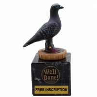 Pigeon on Real Marble Base 5'' (13cm)
