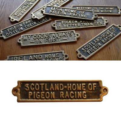 Scotland - The Home Of Pigeon Racing - Brass Plaque