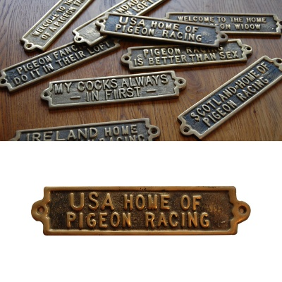 USA - The Home Of Pigeon Racing - Brass Plaque