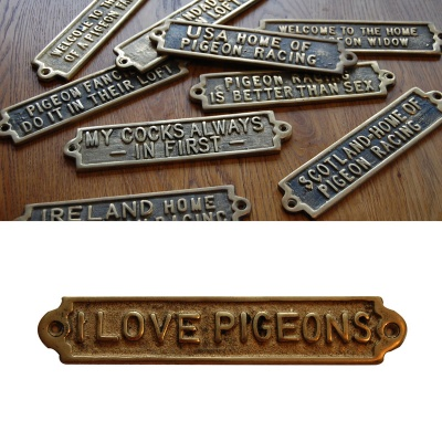 I Love Pigeons - Brass Plaque