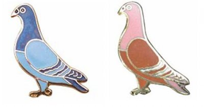 32mm Enamelled Standing Pigeon Badge