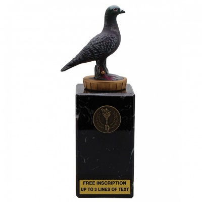 Pigeon on Real Marble Base 7'' (18cm)