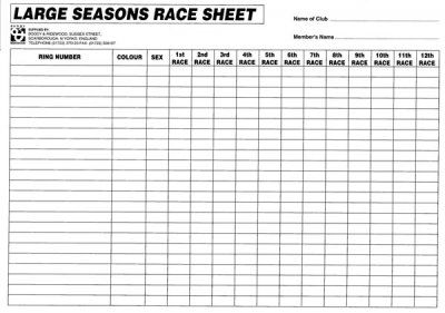 Large Seasons Race Record Sheets