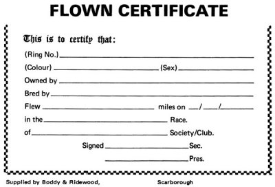 Flown Certificate for Pigeons