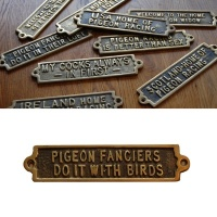 Pigeon Fanciers Do It With Their Birds - Brass Plaque