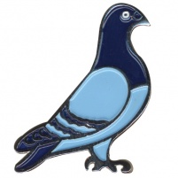 Badge - Large 45mm Blue Enamelled Standing Pigeon