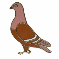 Badge - Large 32mm Red Enamelled Standing Pigeon