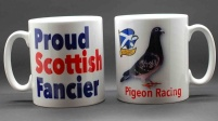 MUG - Proud Scottish Fancier / Pigeon & Scottish flag (The Saltire)